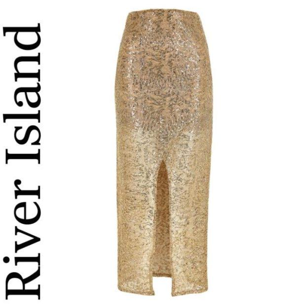 Gold sequin split front maxi skirt, £45, River Island