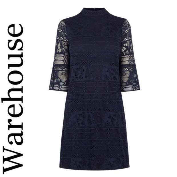 Flute sleeve lace dress, £55, Warehouse