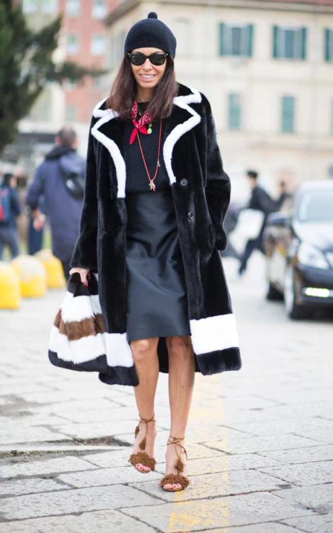 A bold coat will add panache to the simplest of shift dresses and sandals, while a bobble hat and neckerchief add a playful edge