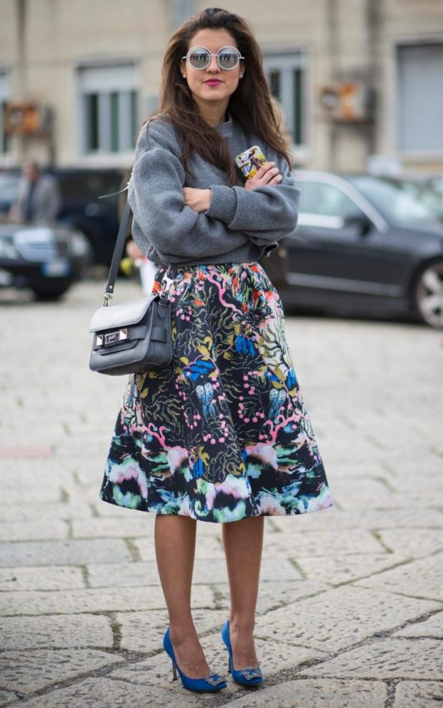 High impact party skirts need not linger unworn in your wardrobe - simply throw on a slouchy sports sweater and your skirt gains a new lease of life