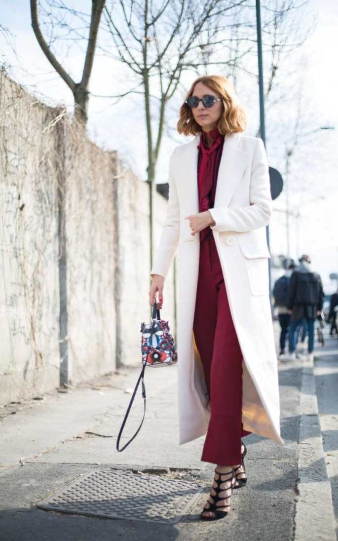 Red is tricky to match with other colours - black can be too harsh, while brown can clash. Luckily this street style star has shown us the light, and it's white