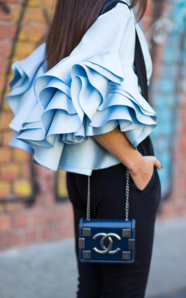 Ruffled no limits this season. If you're braving OTT ruffles, keep the rest simple with black tailoring and classic accessories