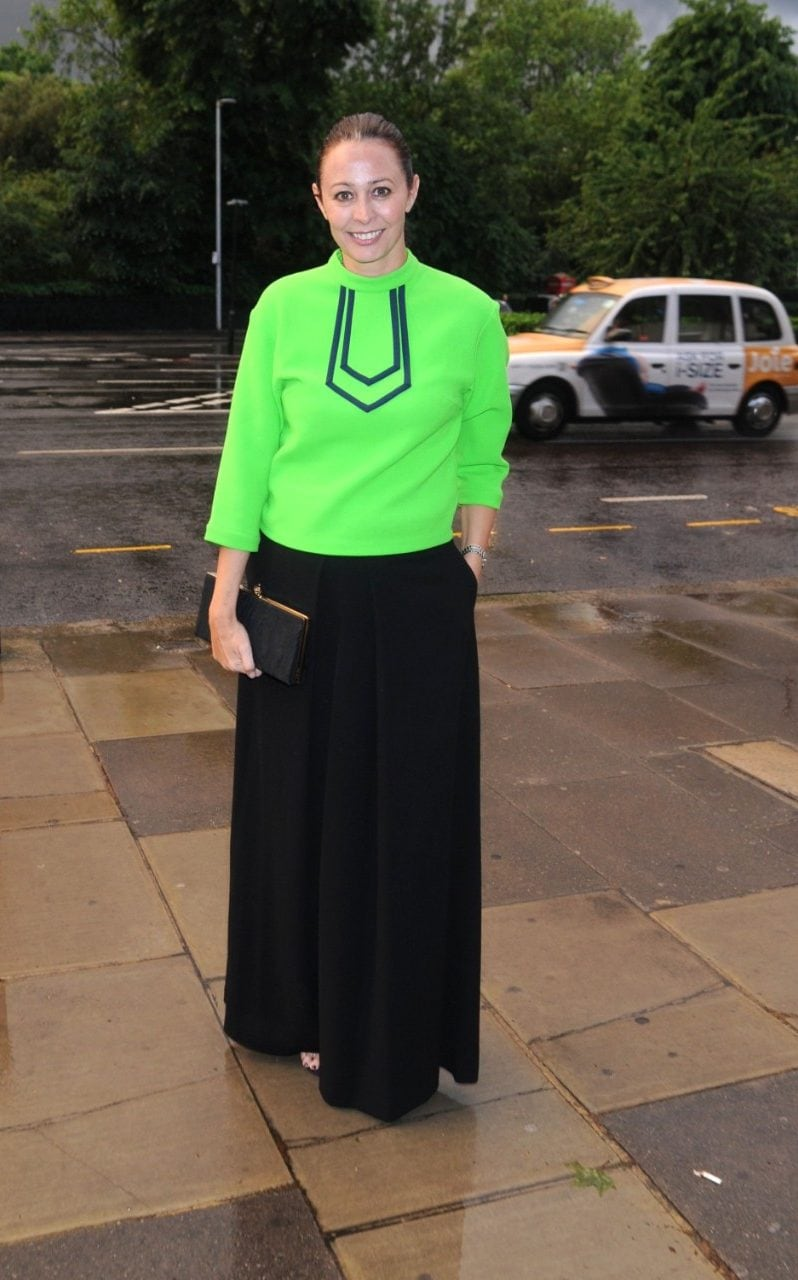 British Fashion Council chief executive Caroline Rush trials bright green