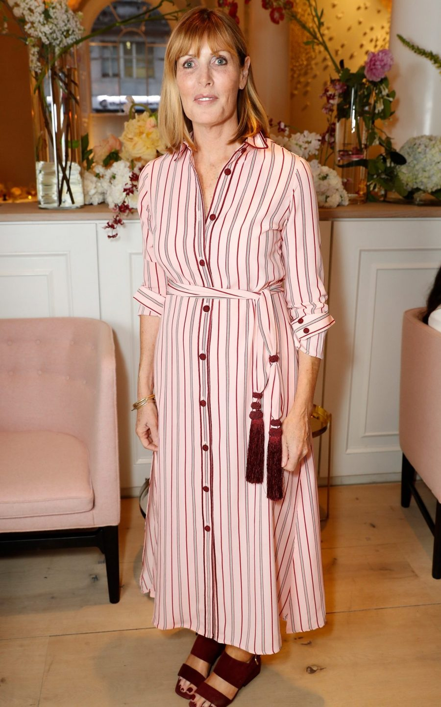 Skye Gyngell at the Wildsmith Skin launch dinner wearing a pink dress