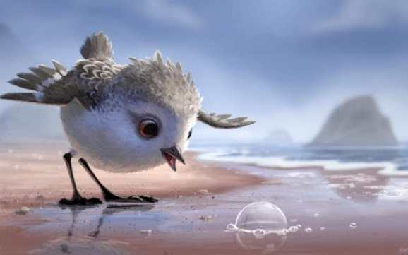 A still from the Pixar short film Piper