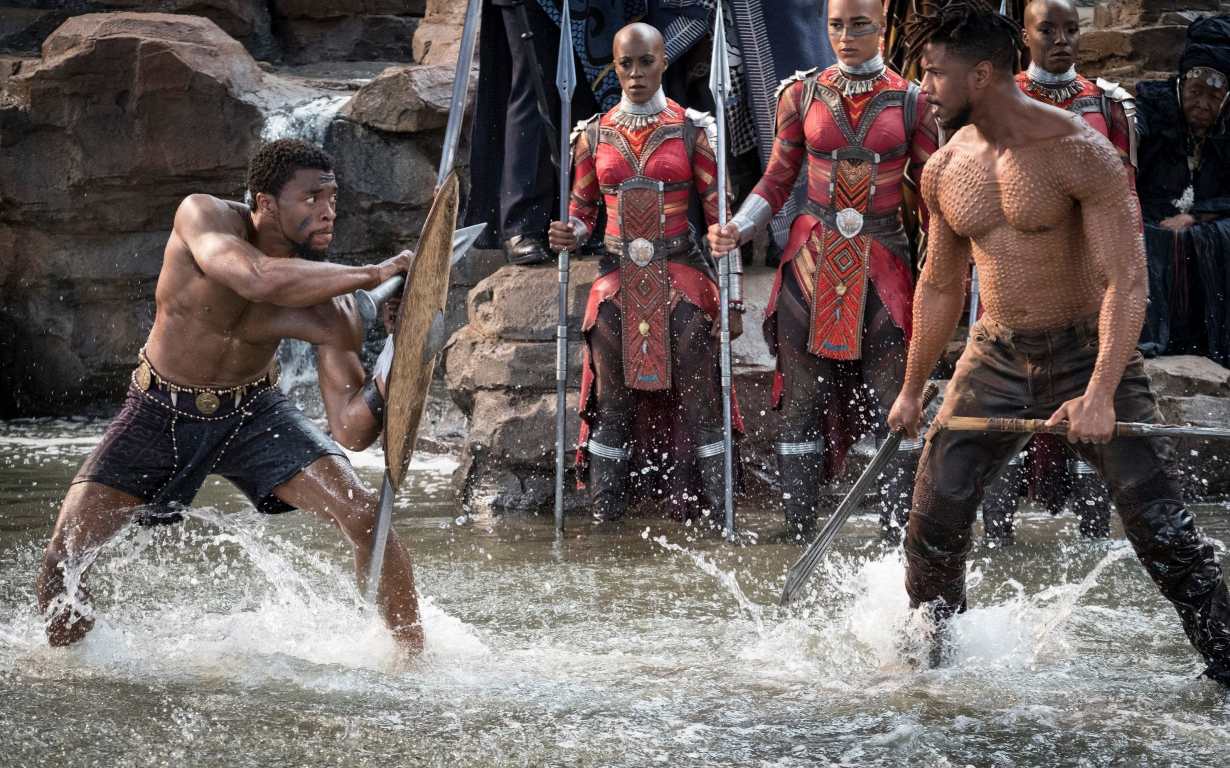 Chadwick Boseman and Michael B. Jordan in Black Panther