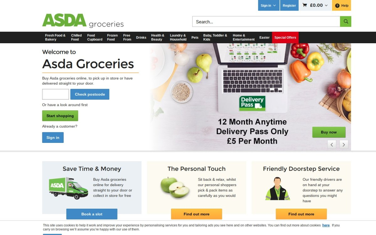 Asda groceries delivery homepage