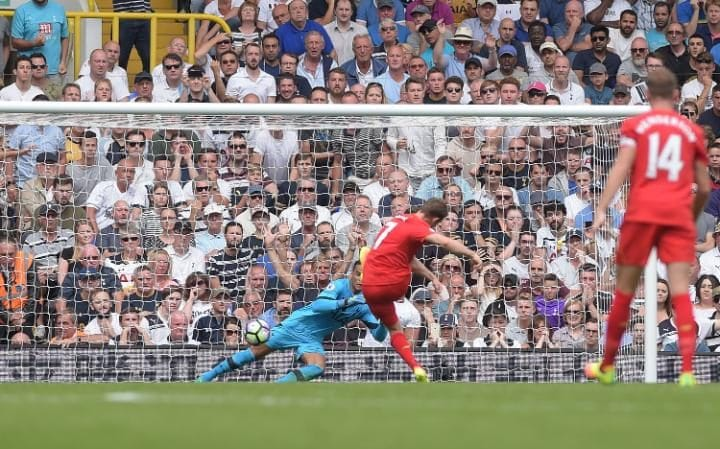 ames Milner of Liverpool opens the scoring from the penalty spot Tottenham Hotspur v Liverpool,