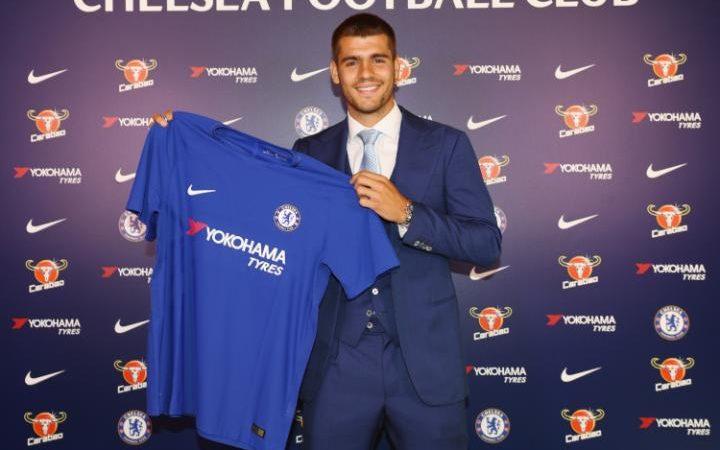 New Signing Alvaro Morata poses at Chelsea Training Ground