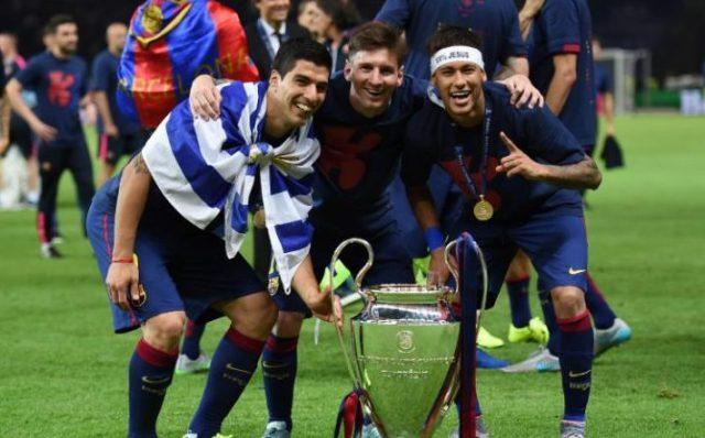 Luis Suarez, Lionel Messi and Neymar of Barcelona