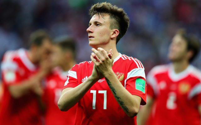 Aleksandr Golovin playing for Russia