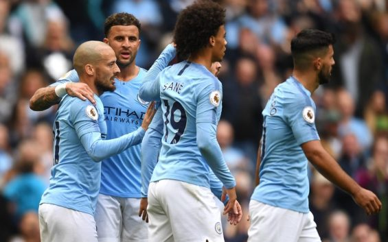 نتيجة بحث الصور عن Sane takes just two minutes to score on return to City side as Silva and Sterling put Fulham to the sword