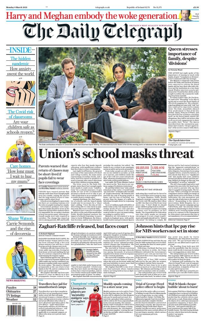 Telegraph front page March 8