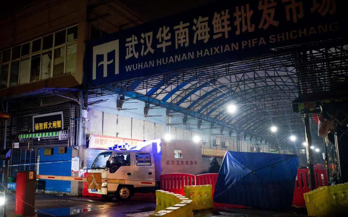 The closed Huanan Seafood Wholesale Market in the city of Wuhan, in Hubei Province, in January 2020