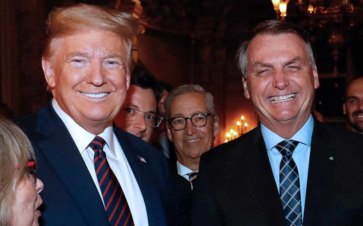 Former US President Donald Trump with Brazilian President Jair Bolsonaro during a dinner in Mar a Lago, Florida, on March 7