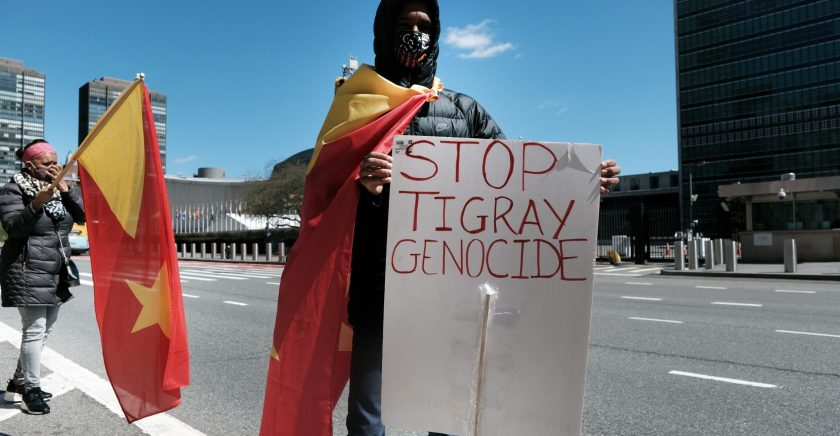 Activists gather outside the United Nations to protest the Tigray conflict