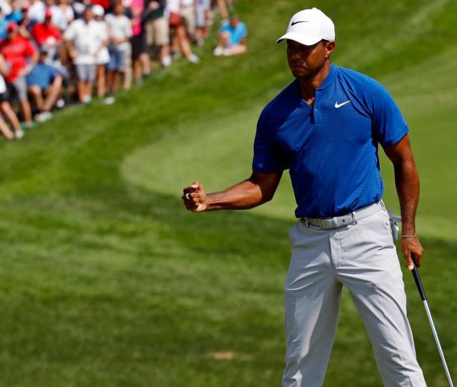Tiger Woods Reacts To A Putt On The 10th Green During The Third Round Of The