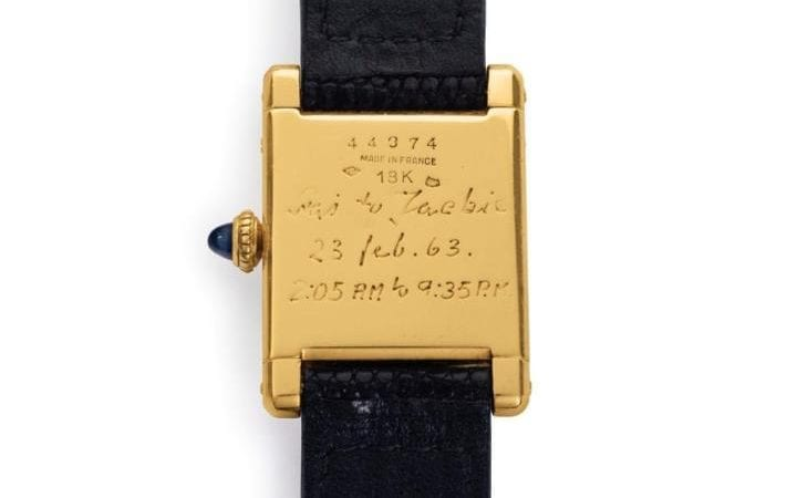 "The engraving on the back of Jacqueline Kennedy's watch reads ""Stas to Jackie 23 Feb. 63 2:05 AM to 9:35 PM"""