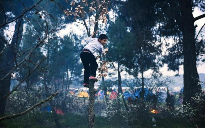 A boy plays near the Greece-Macedonian border