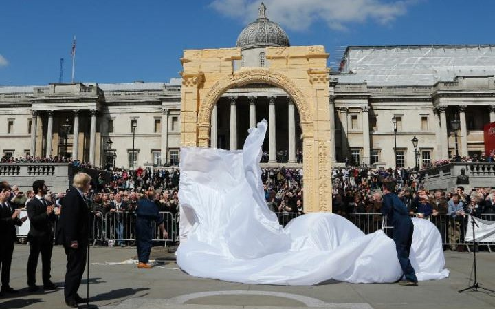 Boris Johnson, the Mayor of London, looks on as the scale replica of Palmyra's Triumphal Arch is unveiled in Trafalgar Square