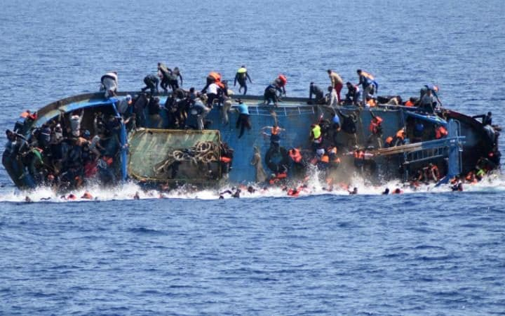 The shipwreck of an overcrowded boat of migrants off the Libyan coast