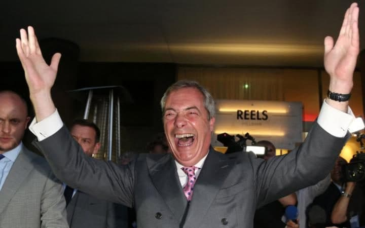 Nigel Farage celebrates the EU referendum result