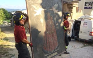 San Lorenzo a Flaviano fire fighters remove religious artefacts from earthquake damaged buildings