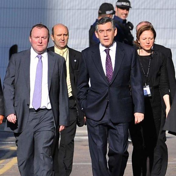 Damian McBride, left, with then prime minister Gordon Brown