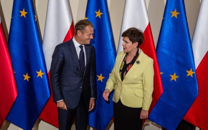 The President of the European Council and Polish Prime Minister Beata Szydlo