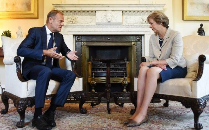 Donald Tusk meets Mrs May in Downing Street in September 2016