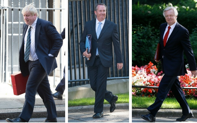 Theresa May's three Brexit Cabinet ministers, from left: Boris Johnson, Liam Fox and David Davis