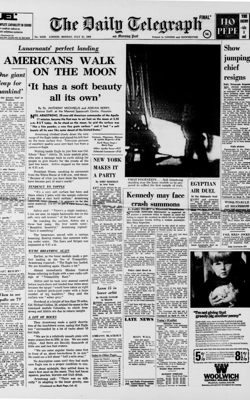 Daily Telegraph 1969 reporting on Neil Armstrong's first steps on the Moon.