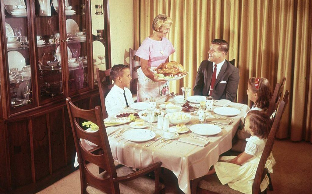 Table Cloths Folded Away As Family Dining Goes Informal