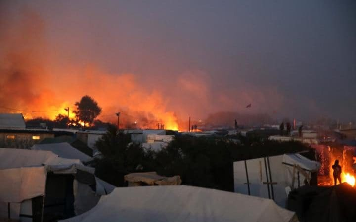 Calais Jungle camp engulfed by flames