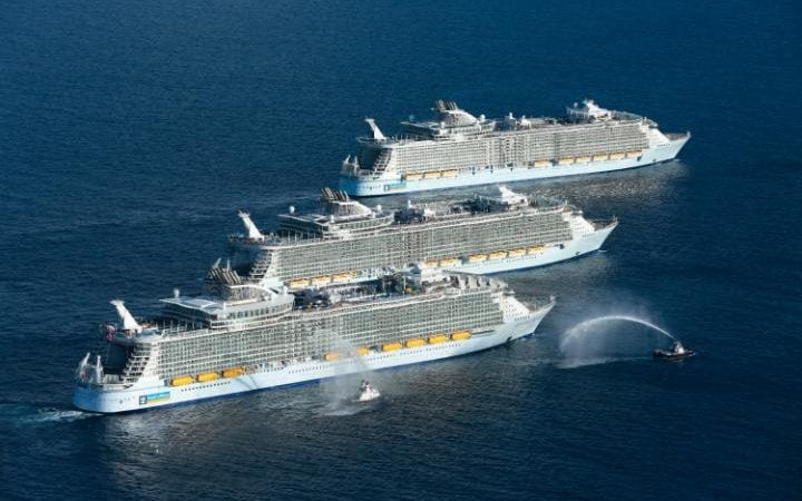 Worlds Three Biggestever Cruise Ships Sail Together At Sea  Peace And Freedom