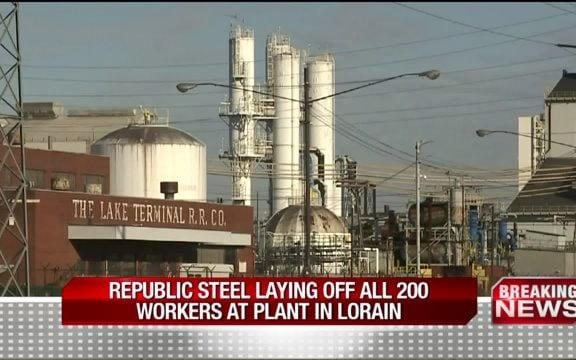 The Republic Steel plant in Lorain, Ohio, which was idled by the company in January 2016