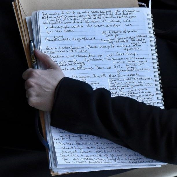 Senior Tory official carries notes from Brexit meeting