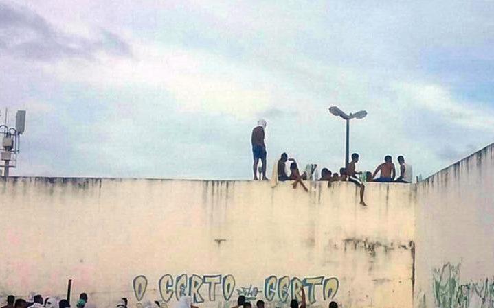 Inmates at Alcacuz Penitentiary Center near Natal, Rio Grande do Norte state, northeastern Brazil