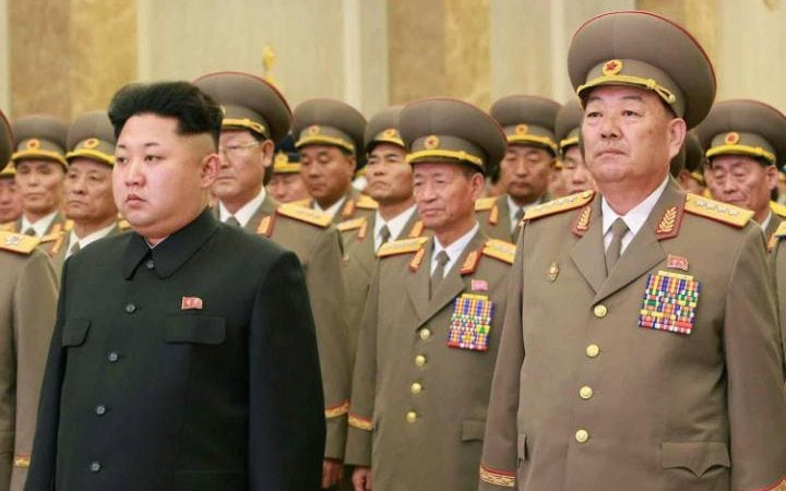 North Korean Defence Minister Hyon Yong-Chol with Kim Jong-Un in February