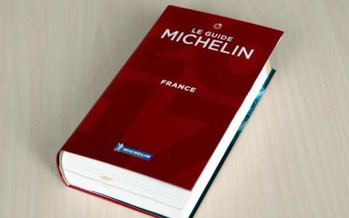 The Michelin Guide 2017 is pictured in Paris, Thursday, Feb.9, 2017 in Paris. One restaurant was newly awarded with the prestigious 3 stars this year.