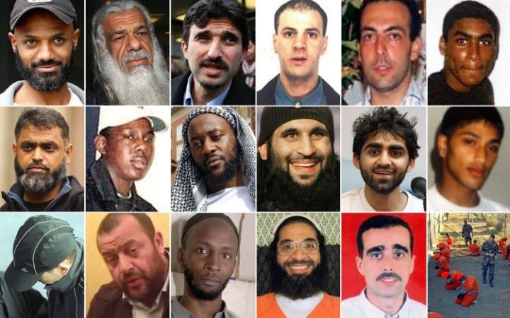 British Guantanamo detainees: top row from left: Binyam Mohammed al Habashi, Jamil el-Banna, Omar Deghayes, Abdenour Sameur, Bisher Al Rawi, Feroz Abbasi 2nd row: Moazzam Begg, Richard Belmar, Martin Mubanga, Shafiq Rasul, Asif Iqbal, Ruhal Ahmed 3rd row: Tarek Dergoul, Mohammed Al Ahmed Rachidi. Jamal Udeen, Shaker Aamer, Ahmed Belbacha