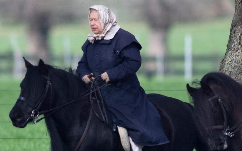 The Queen was pictured riding near Windsor Castle