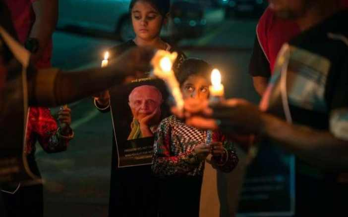 People gathering for a night vigil to pray for Ahmed Kathrada earlier this month when he was ill in hospital