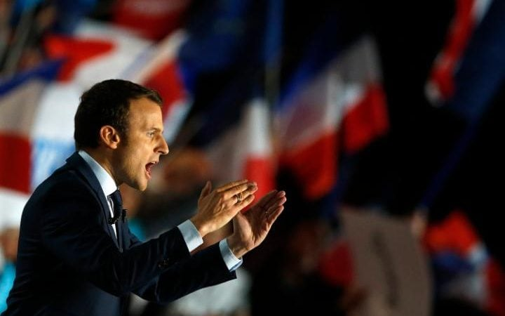 Emmanuel Macron speaks at a rally in Marseille, Southern France, April 1