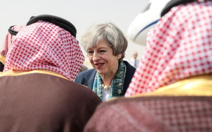 Theresa May arriving at King Khalid International Airport in Riyadh, Saudi Arabia, on Tuesday