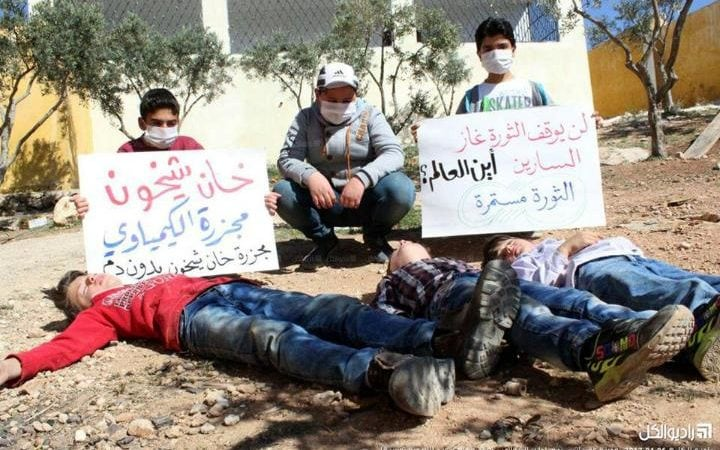 Children from Idlib protest the international inaction after chemical attacks
