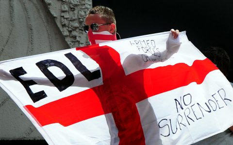 EDL protesters held a demonstration outside Downing Street after learning that Yaxley-Lennon had been jailed