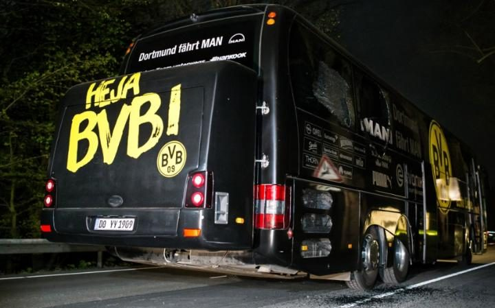 Team bus of the Borussia Dortmund football club damaged in an explosion