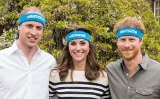 The Duke and Duchess of Cambridge and Price Harry in their Heads Together headbands