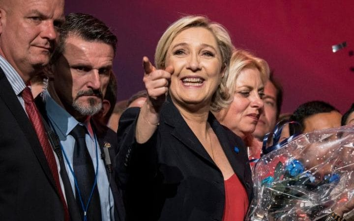 Marine Le Pen at a campaign rally in Marseille